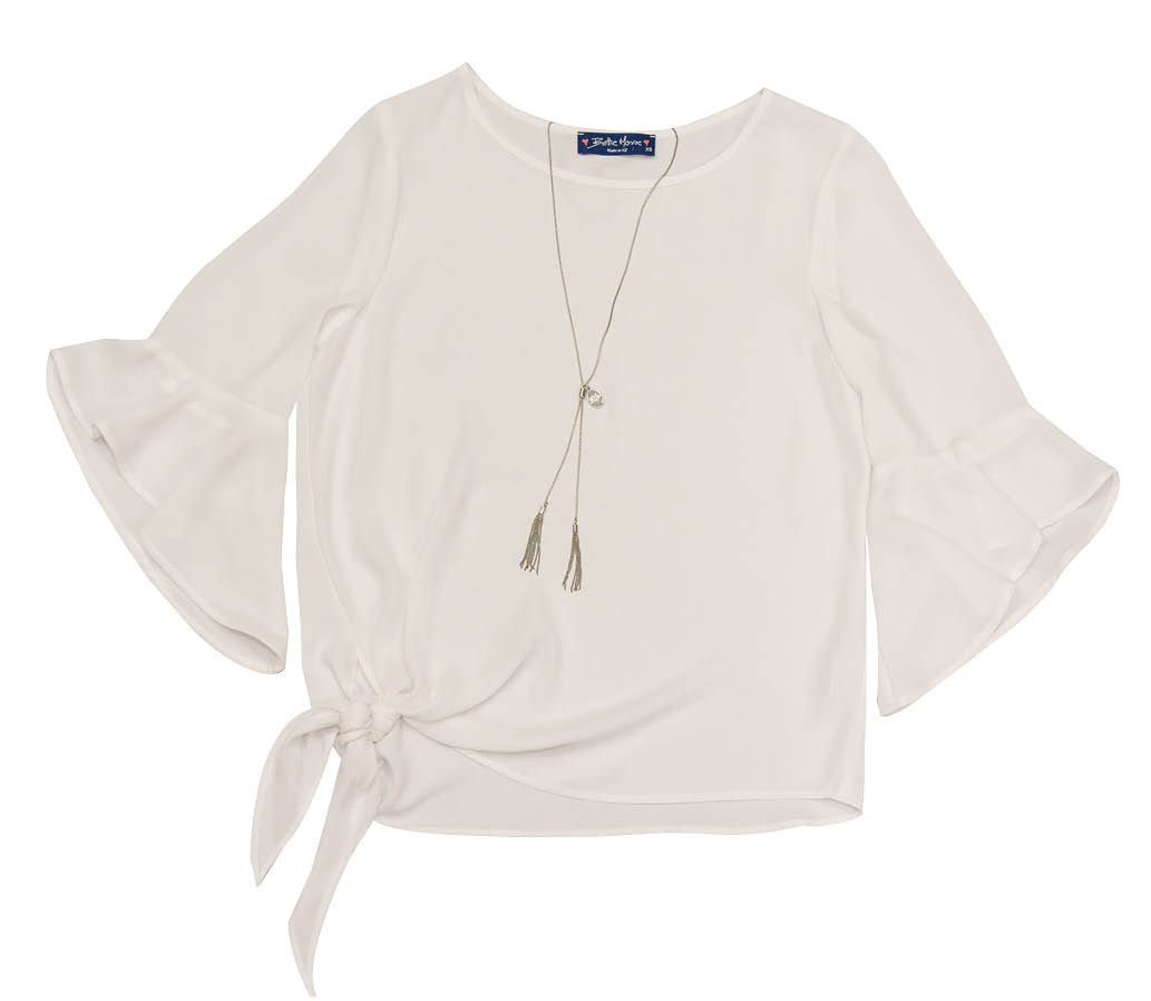 WHITE JASMINE BLOUSE AND SILVER FOUR CORNERS NECKLACE