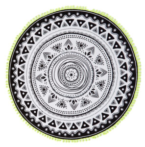 COTTON ON THE ROUND TOWEL IN BLACK AND WHITE MANDALA