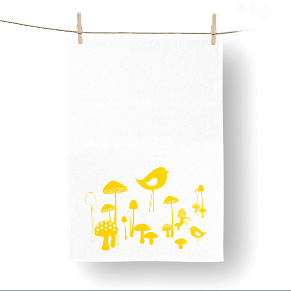 VINYL DESIGN MUSHROOMS TEA TOWEL