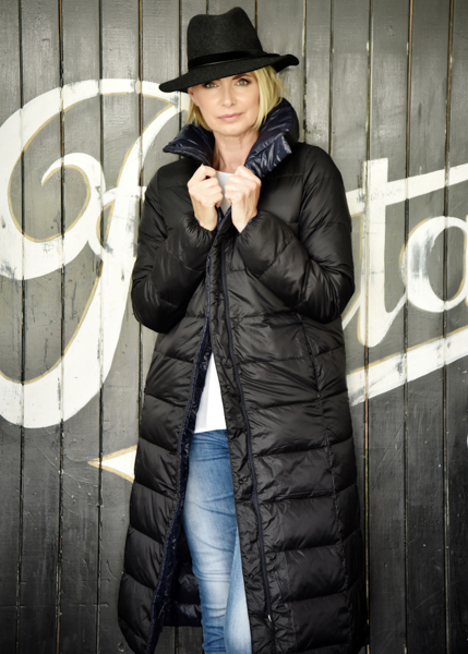 PAULA RYAN Long Reversible Glam Puffer, $550