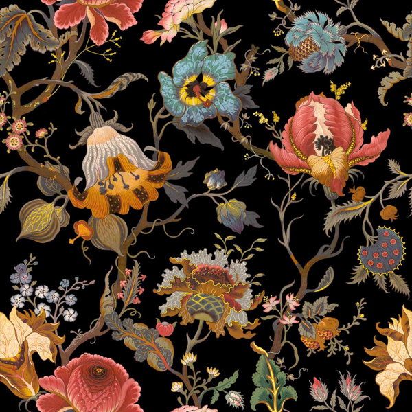 House of Hackney x William Morris Artemis Black Wallpaper