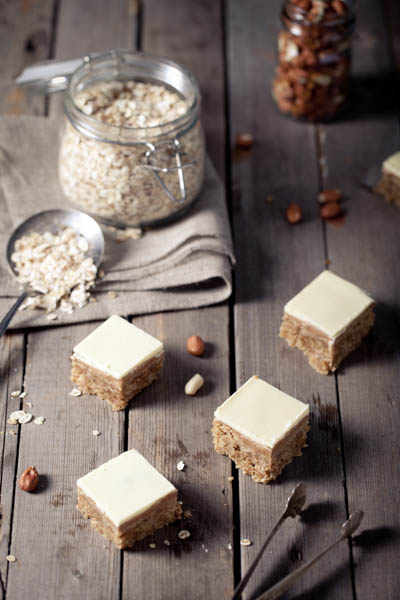 Peanut butter & white choc squares