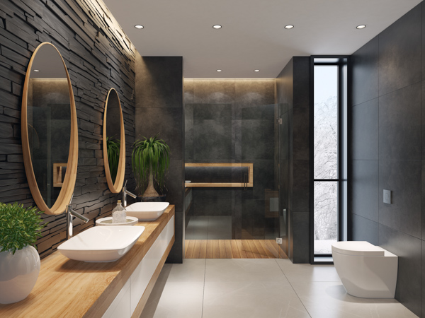 Bold black bathrooms